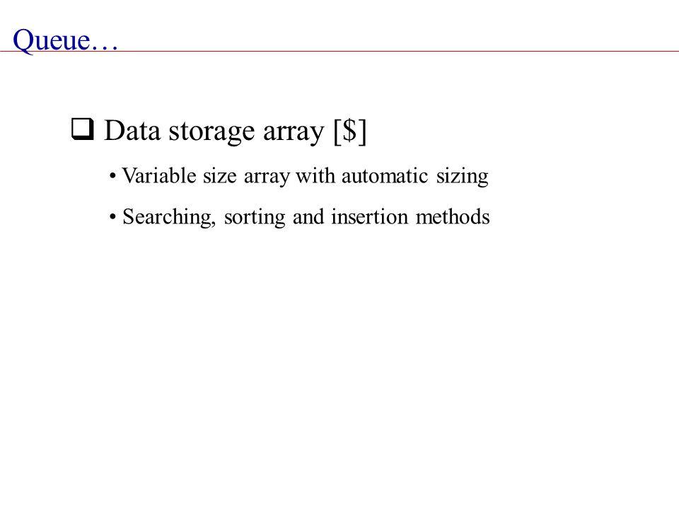 Queue… Data storage array [$]